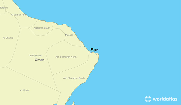 map showing the location of Sur