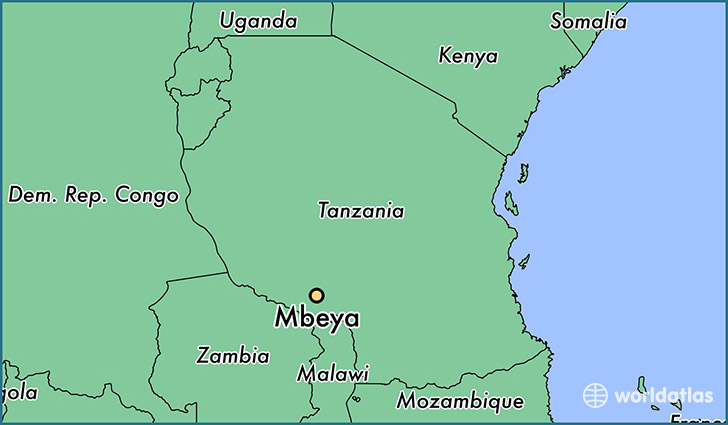 map showing the location of Mbeya