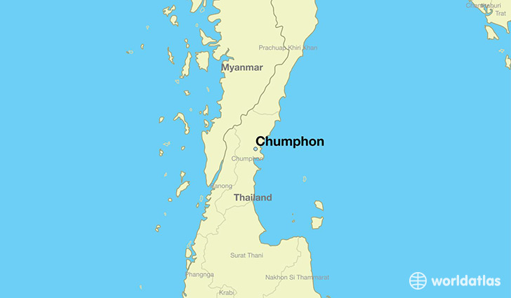 map showing the location of Chumphon