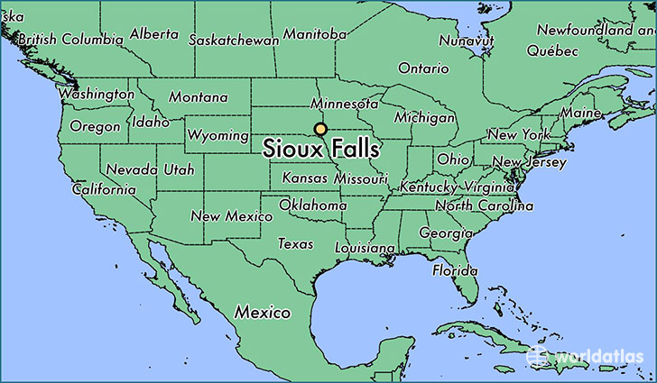 map showing the location of Sioux Falls