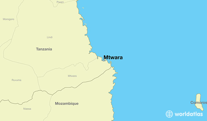 map showing the location of Mtwara
