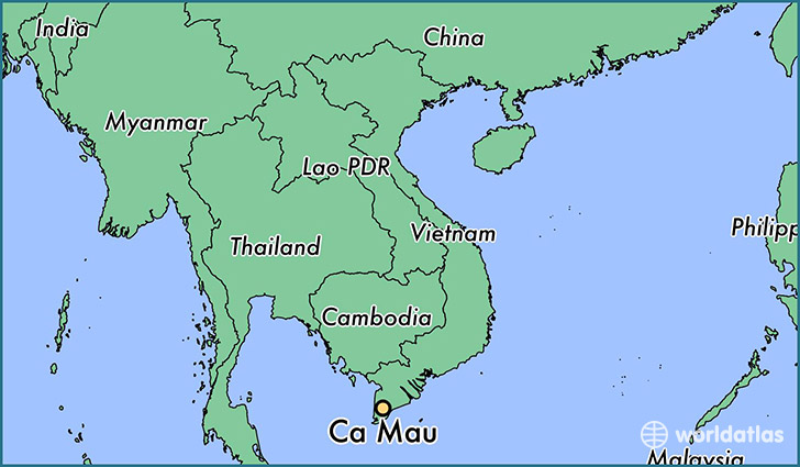 map showing the location of Ca Mau