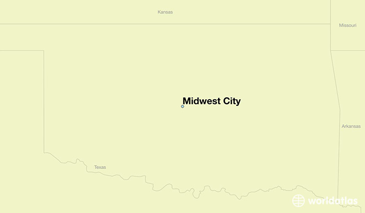 map showing the location of Midwest City