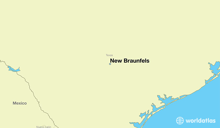 map showing the location of New Braunfels