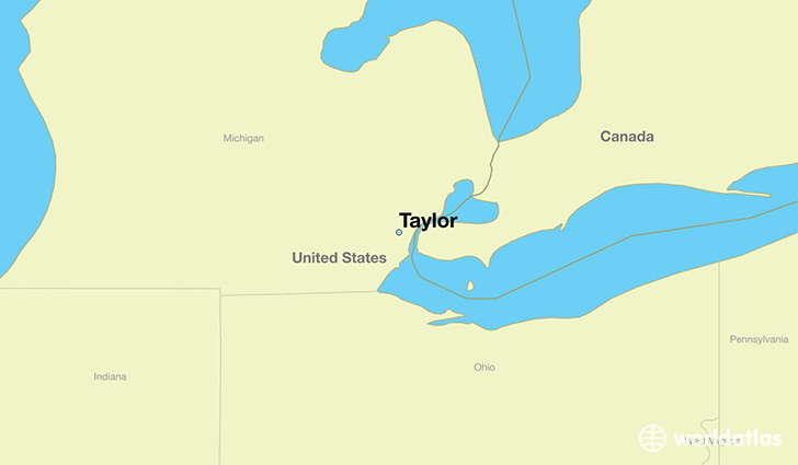 map showing the location of taylor