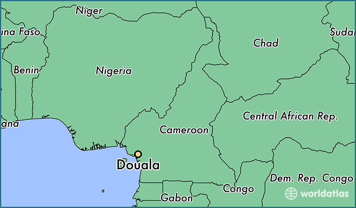 map showing the location of Douala