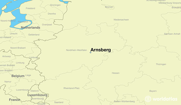 map showing the location of Arnsberg