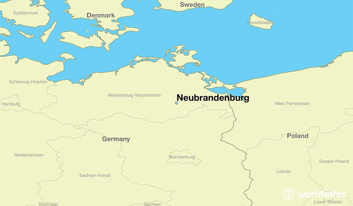 map showing the location of Neubrandenburg