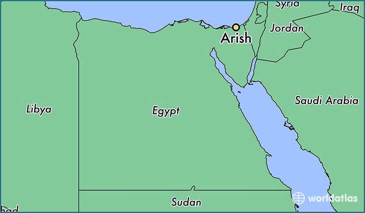 map showing the location of Arish
