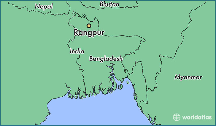 map showing the location of Rangpur