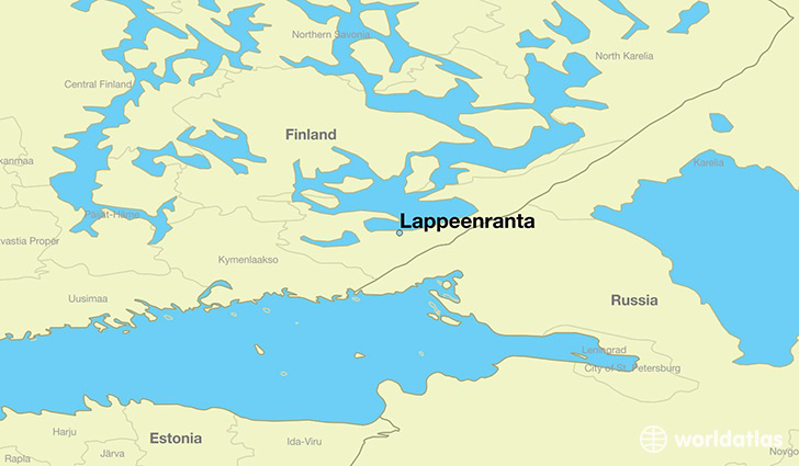 map showing the location of Lappeenranta