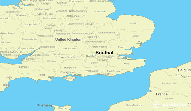 map showing the location of Southall