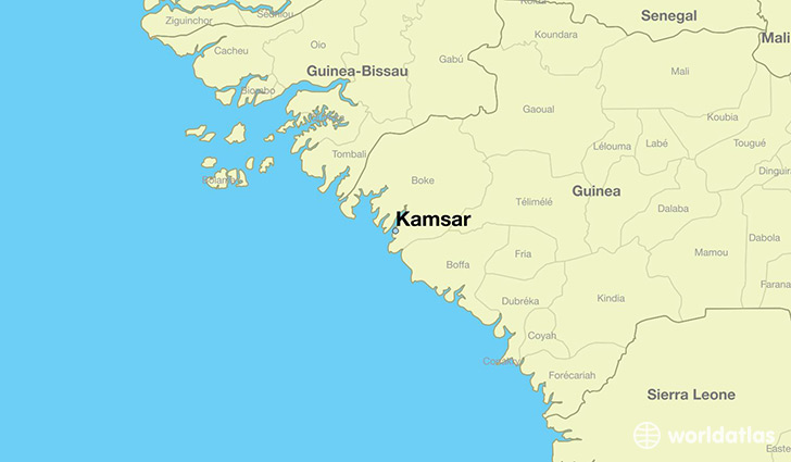 map showing the location of Kamsar