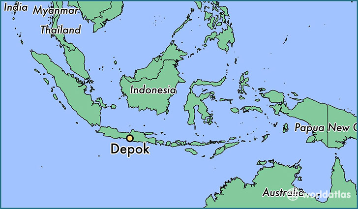 map showing the location of Depok