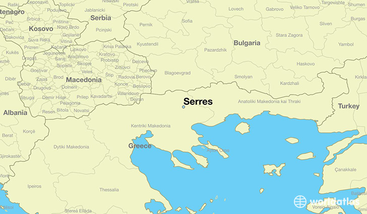 map showing the location of Serres