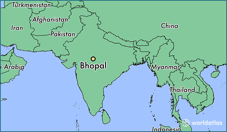 map showing the location of Bhopal