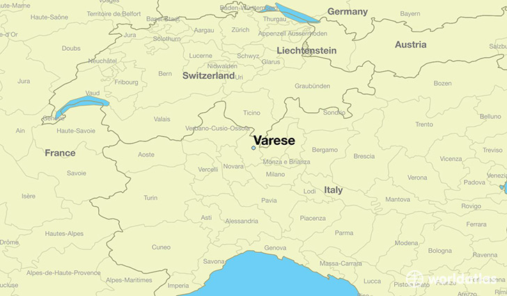 map showing the location of Varese