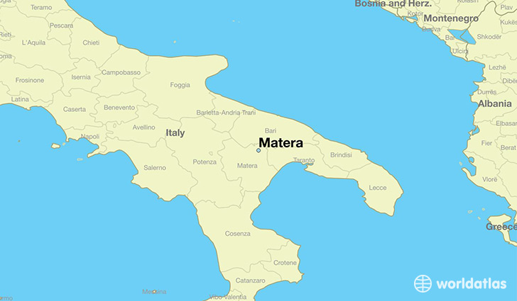 Where is Matera Italy Matera Basilicata Map WorldAtlascom