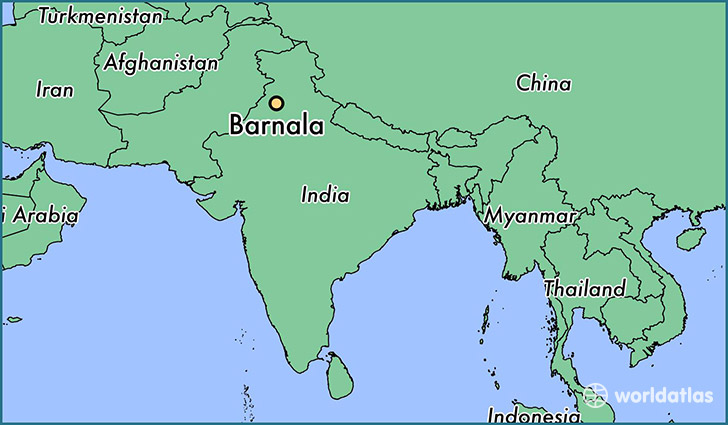map showing the location of Barnala
