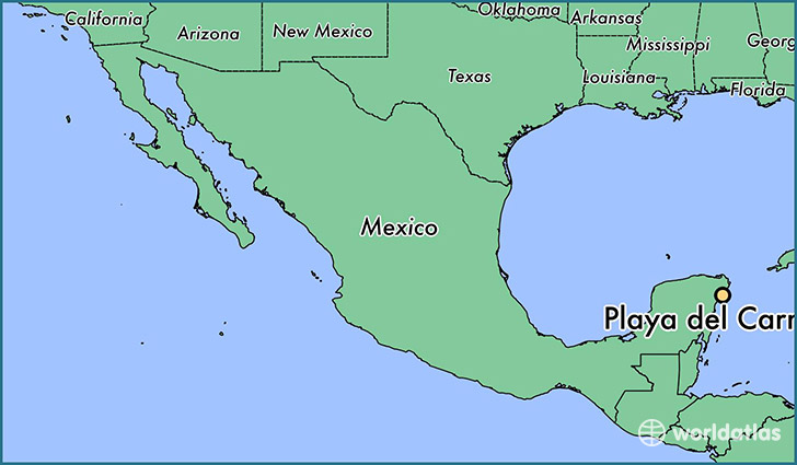 map showing the location of Playa del Carmen