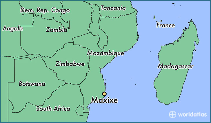 map showing the location of Maxixe