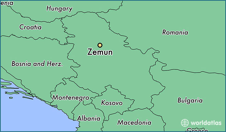map showing the location of Zemun