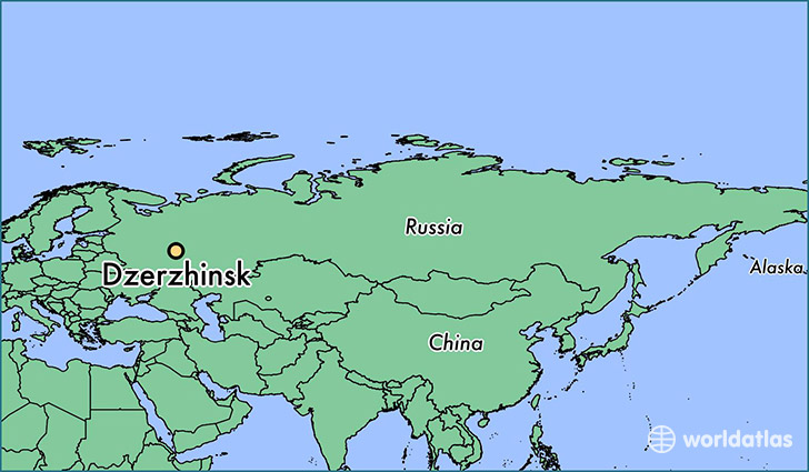 map showing the location of Dzerzhinsk