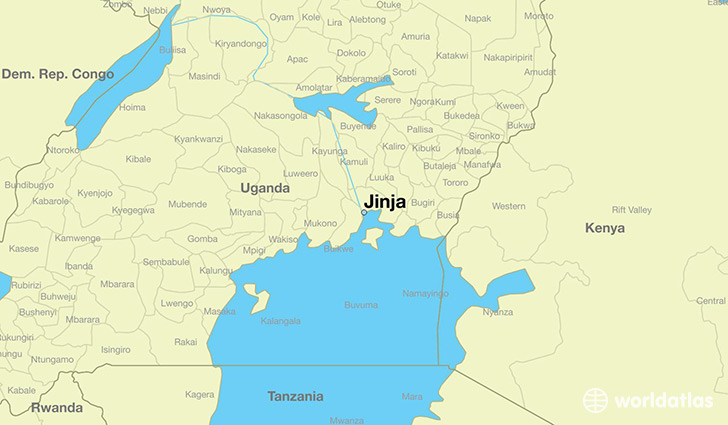 map showing the location of Jinja