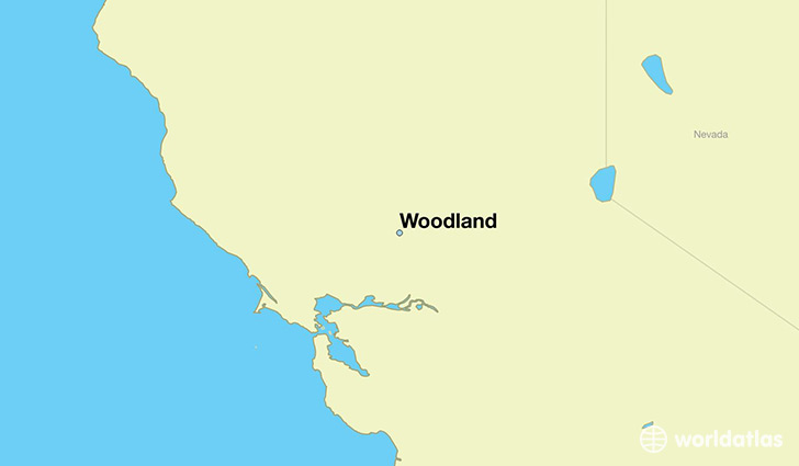 map showing the location of Woodland