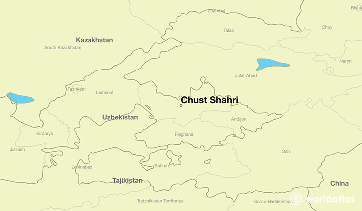 map showing the location of Chust Shahri