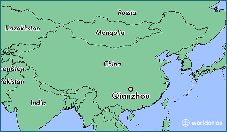 map showing the location of Qianzhou