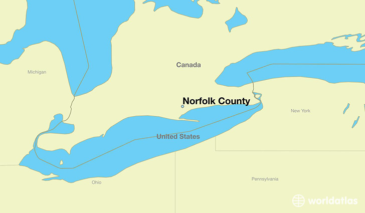 map showing the location of Norfolk County