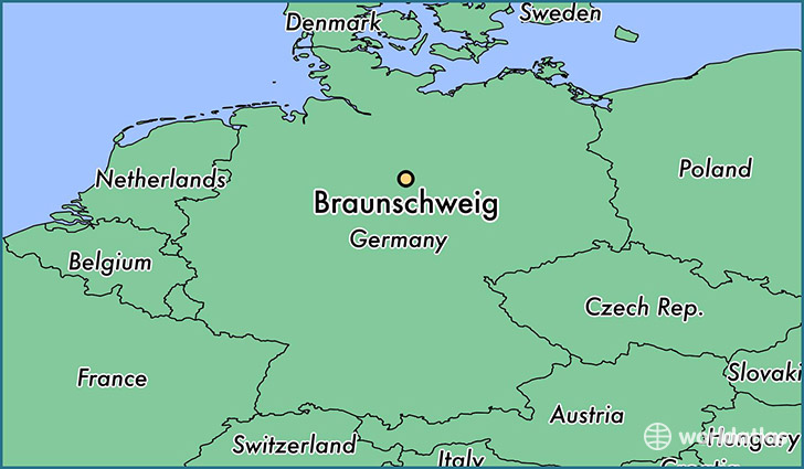 map showing the location of Braunschweig