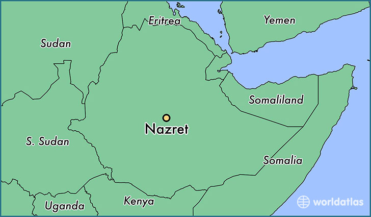 map showing the location of Nazret