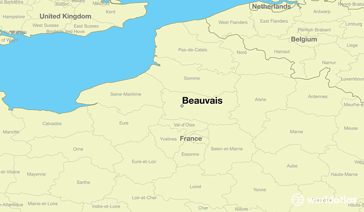 map showing the location of Beauvais