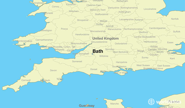 map showing the location of Bath