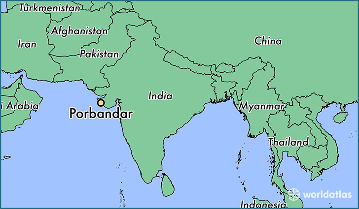 map showing the location of Porbandar