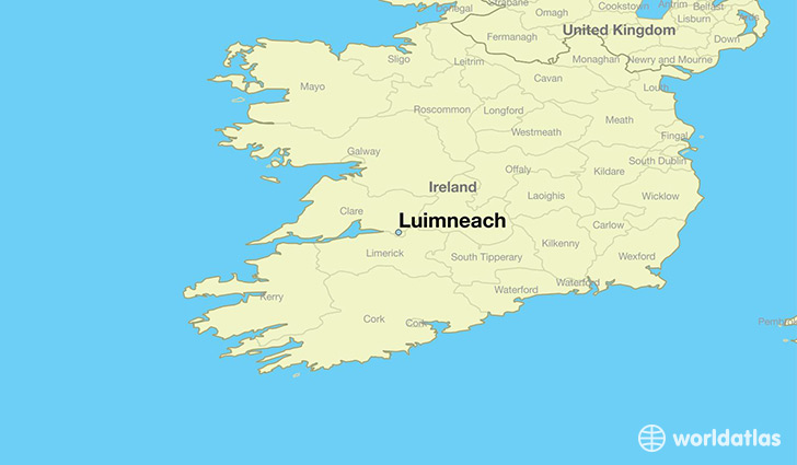 map showing the location of Luimneach