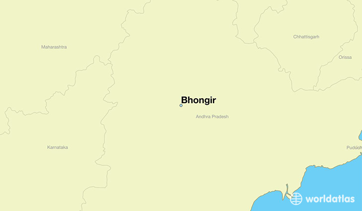 map showing the location of Bhongir