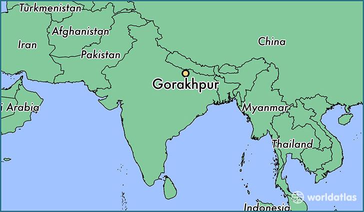 Where is gorakhpur india gorakhpur uttar pradesh map map showing the location of gorakhpur gumiabroncs Images