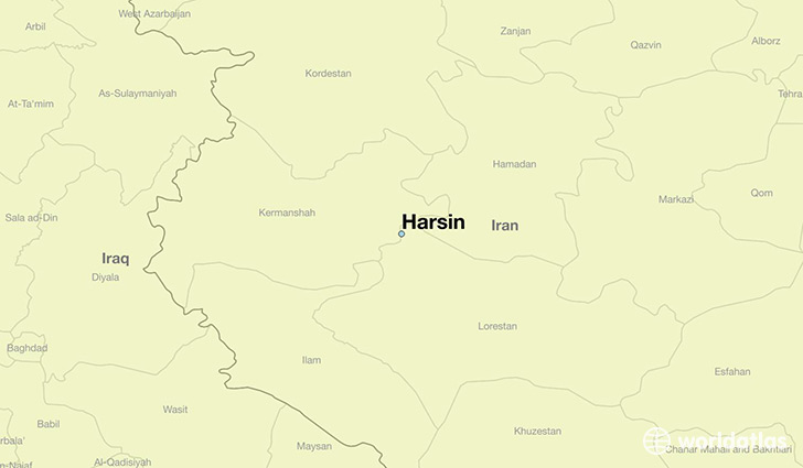map showing the location of Harsin
