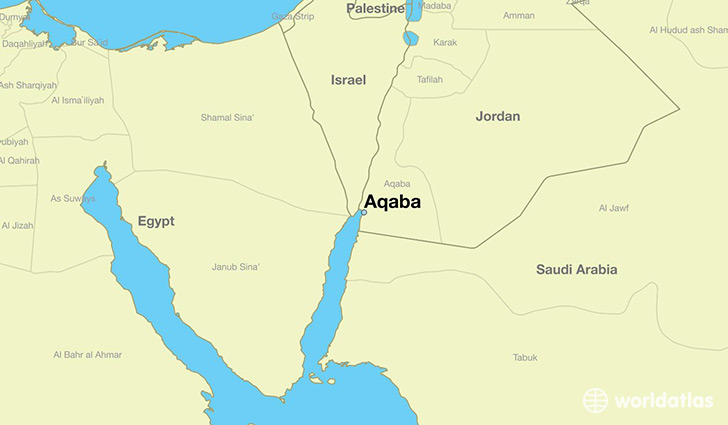 Where Is Aqaba Jordan Aqaba Aqaba Map WorldAtlascom - Where is jordan located