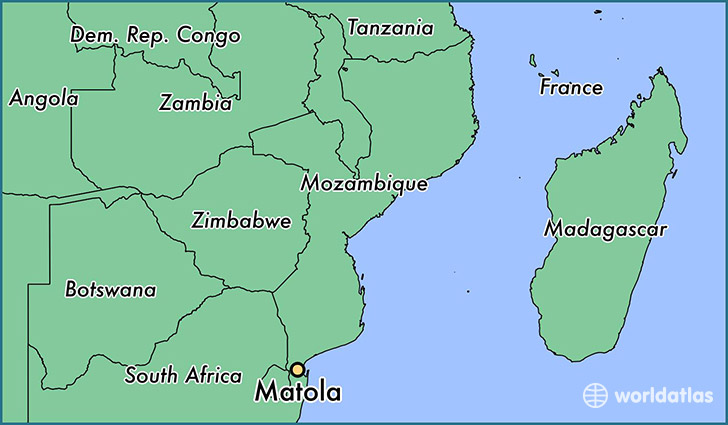 Where is Matola Mozambique Matola Maputo Map WorldAtlascom