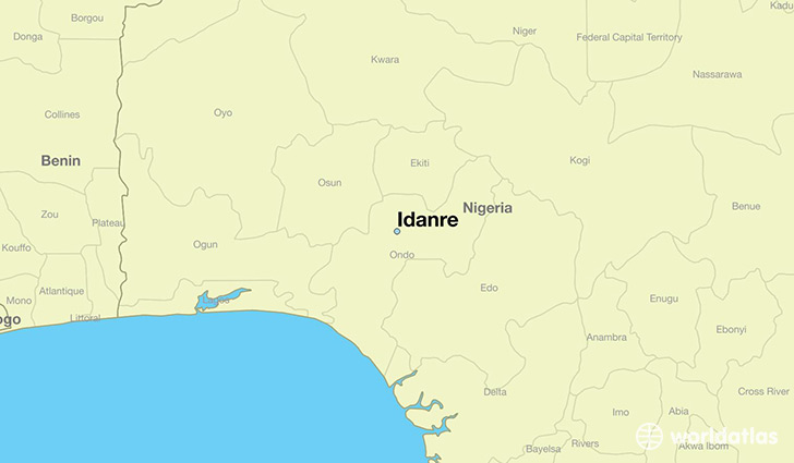 map showing the location of Idanre