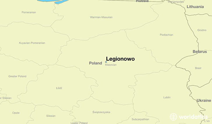 map showing the location of Legionowo