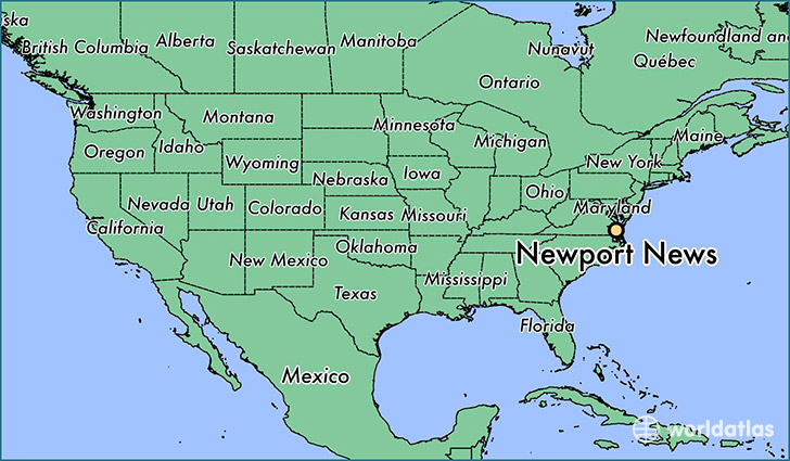 map showing the location of Newport News