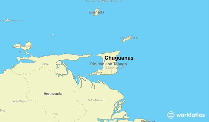 map showing the location of Chaguanas