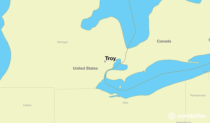 map showing the location of Troy