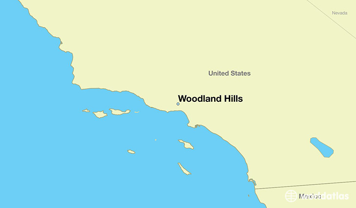 map showing the location of Woodland Hills