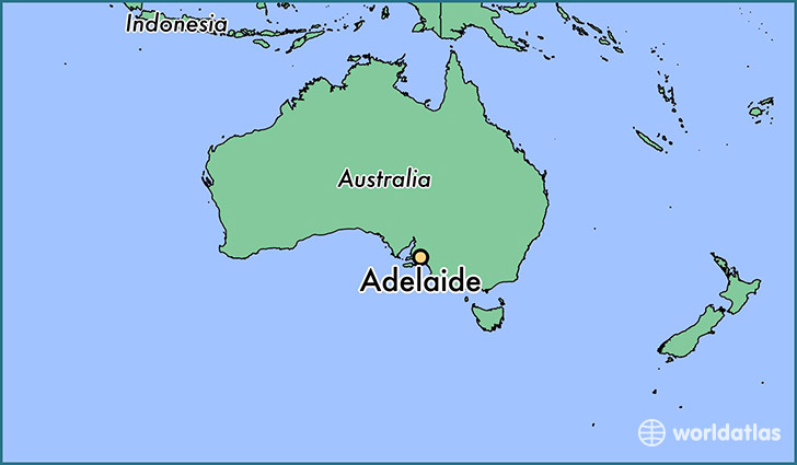 map showing the location of Adelaide